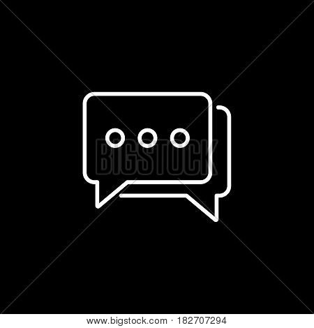 Social engagement line icon, seo and development, Speech bubbles sign, a linear pattern on a black background, eps 10.