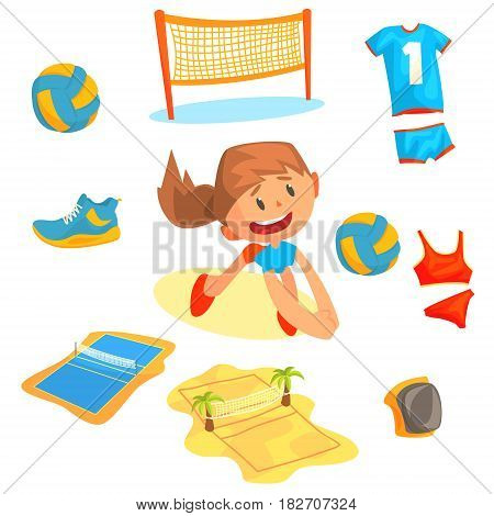 Girl playing with a ball at beach volleyball set for label design. Sports equipment for volleyball. Cartoon detailed Illustrations isolated on white background