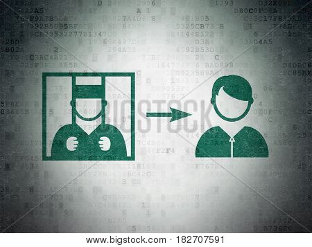 Law concept: Painted green Criminal Freed icon on Digital Data Paper background