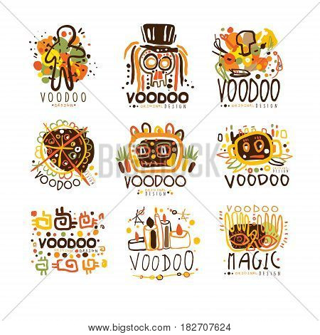 Voodoo and magic set for label design. Spiritual, magical, cultural vector Illustrations for stickers, banners, cards, advertisement, tags