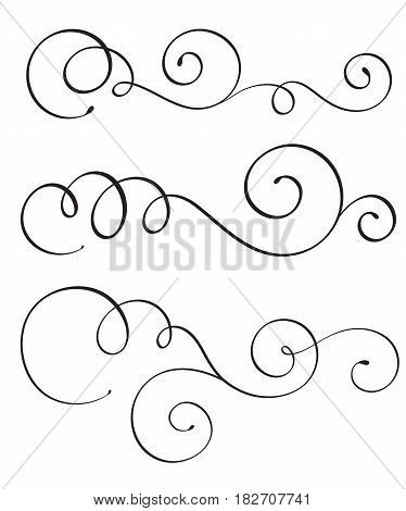 set of vintage flourish decorative art calligraphy whorls for text. Vector illustration EPS10.