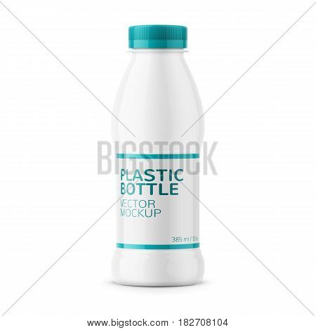 White glossy plastic bottle with screw cap for dairy products milk, drink yogurt, cream, dessert. Wrapped with label. 385 ml. Realistic packaging mockup template. Front view. Vector illustration.