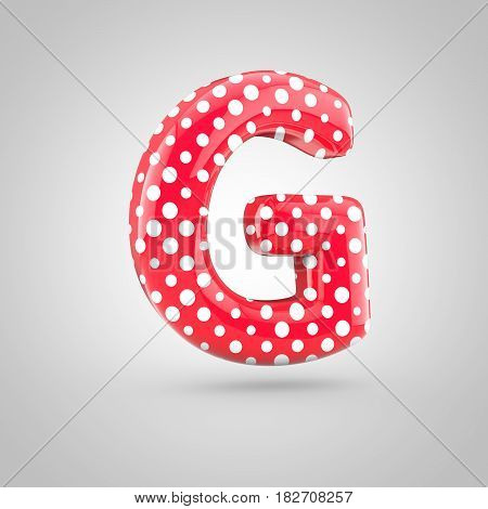 Red Alphabet Letter G Uppercase With White Dots Isolated On White Background.