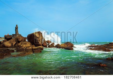Waves Break About The Rocks Off The Coast Of Kanyakumari.