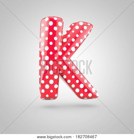 Red Alphabet Letter K Uppercase With White Dots Isolated On White Background.
