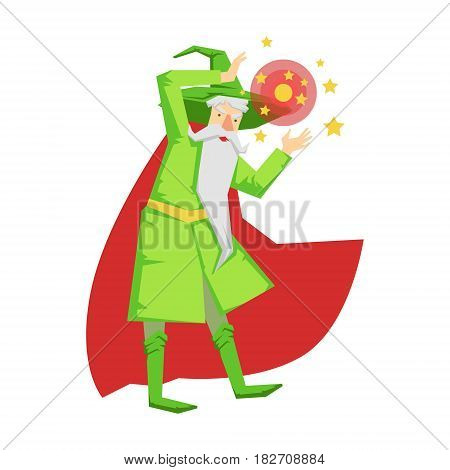 Magic witch wizard in action with crystal ball. Colorful fairy tale character Illustration isolated on a white background