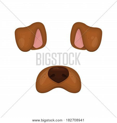 Dog face elements. Vector illustration. Animal character ears and nose. For selfie photo decoration. Cartoon brown Dog mask. Isolated on white. Easy to edit icon.