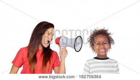 Craizy mum shouting by a megaphone to her son isolated on a white background
