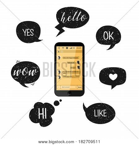 Mobile Phone And Speech Bubbles. Vector Illustration. Smartphone With Yellow Chat Boxes. Social Netw