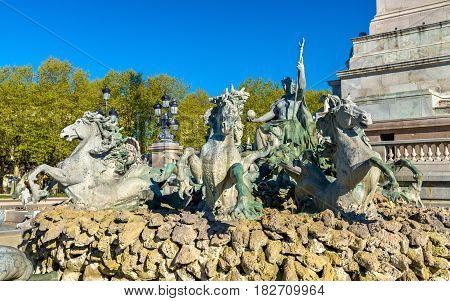 Monument aux Girondins on the Quinconces square in Bordeaux, France
