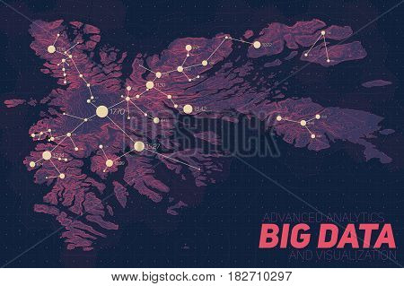 Terrain big data visualization. Futuristic map infographic. Complex topographical data graphic visualization. Abstract data on elevation graph. Colorful geographical data image.