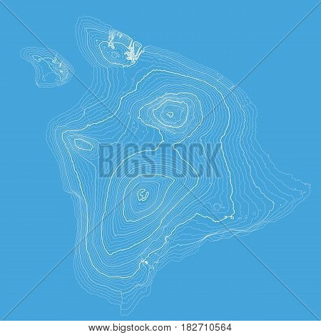 Vector abstract blue earth relief map. Generated conceptual elevation map. Isolines of landscape surface elevation. Geographic map conceptual design. Elegant background for presentations.