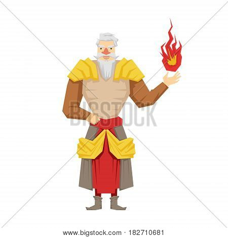 Old bearded wizard holding red magic ball. Colorful fairy tale character Illustration isolated on a white background