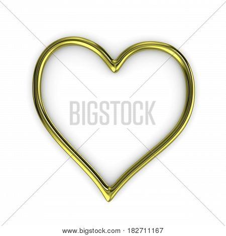One Single Heart Shape Gold Ring Frame Isolated on White Background 3D Illustration