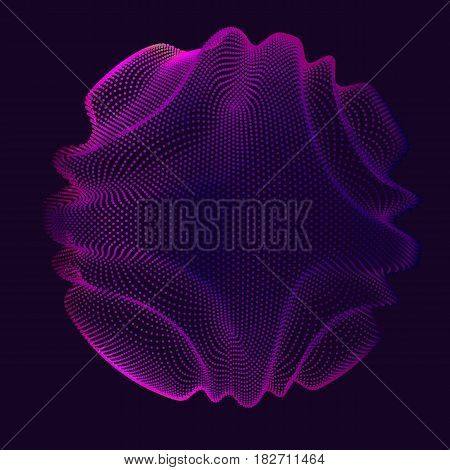 Abstract vector violet mesh sphere on dark background. Futuristic style card. Elegant background for business presentations. Corrupted point sphere. Chaos aesthetics.