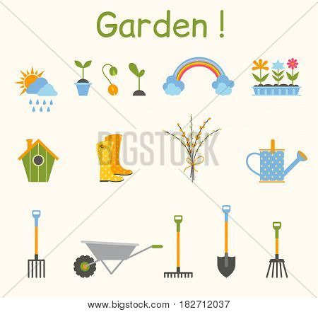 Set of various gardening items. Garden tools. House maintenance equipment. Colorful icons in a flat style isolated on a white background.