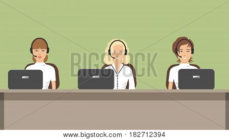 Web banner of call center workers. Young woman in headphones sitting at the table. It can be used for websites. Raster copy.