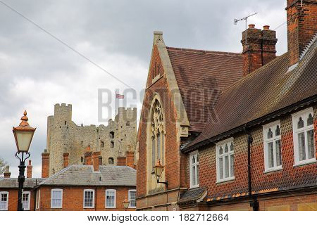 ROCHESTER, UK: Colorful facades with the Castle in the background