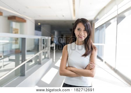 Young woman inside office