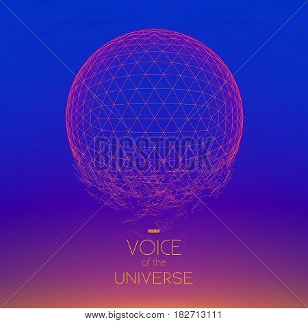 Crashing violet space sphere. Abstract vector background with tiny stars. Glow of sun from the bottom. Abstract space geometry. Sparkles of alien stars on the backdrop. Disintegration of cyber sphere.