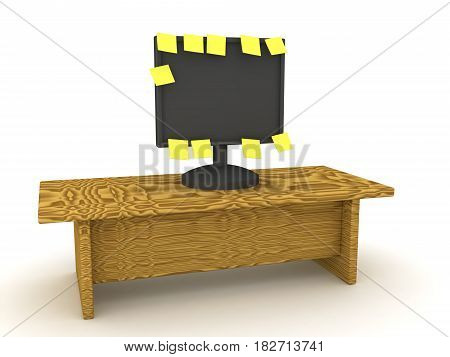 3D illustration of a computer monitor with many yellow sticky notes posted on it. Image depicting many tasks waiting to be done.
