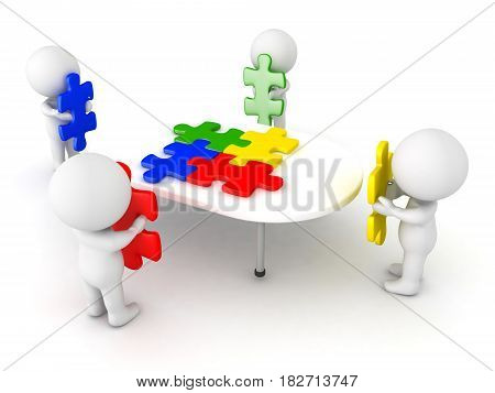 3D Illustration of four characters putting puzzle pieces on table. The pieces are matching and colorful.