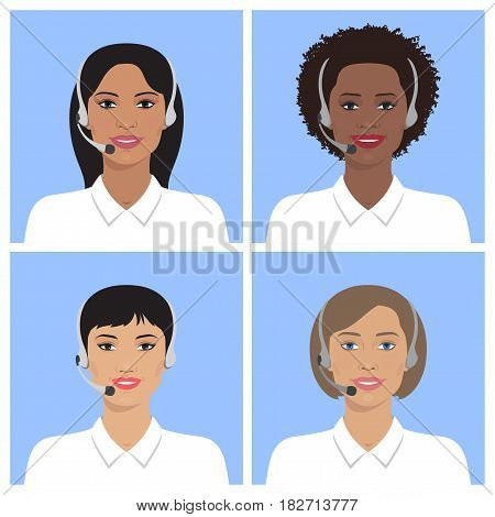Vector set of call-center operators of different nation in headsets. Vector business flat illustration. European, asian, african american, indian women.