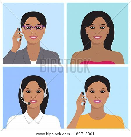 Vector avatar set. Business woman with glasses, talking on the mobile phone. Call-operator in headsets. Indian smiling girl talking on the telephone. Vector flat icons.