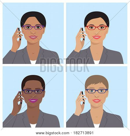 Vector avatar icon set. Business womens avatars. Women, girls of different nation with glasses, talking on the mobile phone. Vector flat illustration. European, asian, african american, indian women.