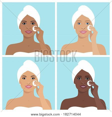 Avatar set of beautiful women. Every woman with towel on her head and cleaning her face with cotton pad. Vector illustration of smiling women. Beauty and health. Flat design.