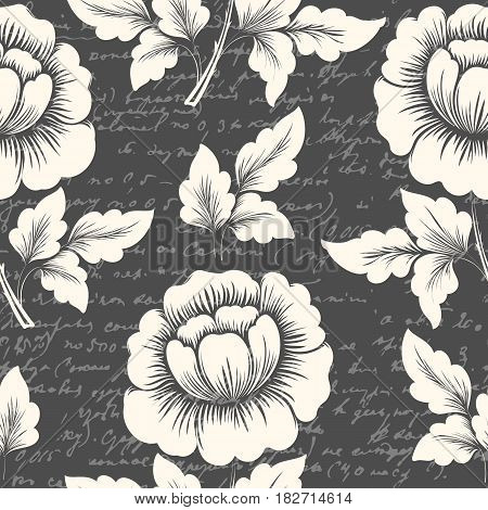 Vector flower seamless pattern element with ancient text. Elegant texture for backgrounds. Classical luxury old fashioned floral ornament, seamless texture for wallpapers, textile, wrapping.