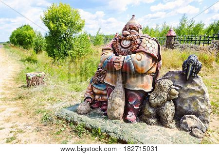 Berendeyevo, Moscow region, Russia, 26 July 2014, summer landscape with fabulous sculptural characters. Public Park next to the road
