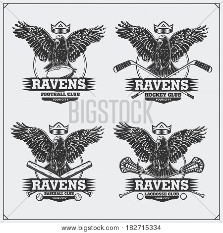 Football, baseball, lacrosse and hockey badges and labels. Sport club emblems with raven.