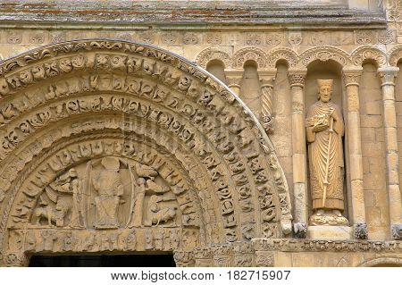 ROCHESTER, UK: Close-up on Rochester Cathedral facade and western entrance with carvings