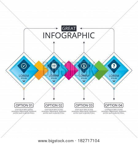 Infographic flowchart template. Business diagram with options. Information icons. Stop prohibition and question FAQ mark speech bubble signs. Approved check mark symbol. Timeline steps. Vector