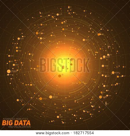 Big data orange visualization. Futuristic infographic. Information aesthetic design. Visual data complexity. Complex data threads graphic. Social network representation. Abstract data graph.