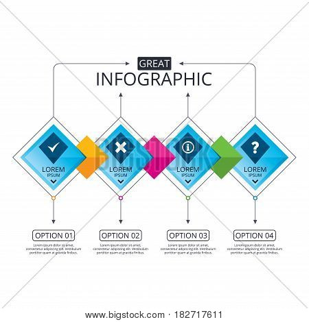 Infographic flowchart template. Business diagram with options. Information icons. Delete and question FAQ mark signs. Approved check mark symbol. Timeline steps. Vector