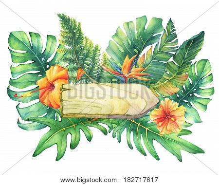Composition with nameplate, flowers and tropical plants. Hand drawn watercolor painting on white background.