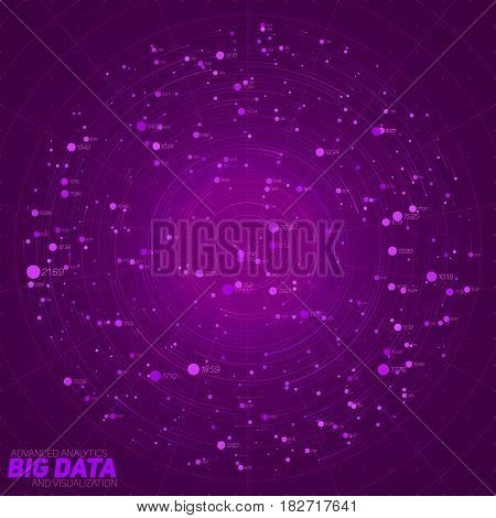 Big data violet visualization. Futuristic infographic. Information aesthetic design. Visual data complexity. Complex data threads graphic. Social network representation. Abstract data graph.