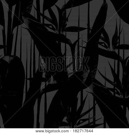 Watercolor strelitzia seamless pattern in dark gray and black colors. Hand painted exotic silhouettes of leaves and flowers