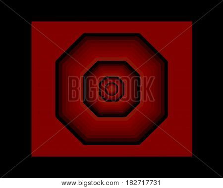 Geometric illustration of octagons and squares in shades of red and black