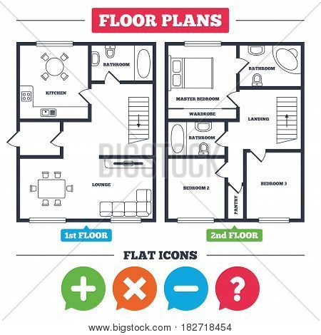 Architecture plan with furniture. House floor plan. Plus and minus icons. Delete and question FAQ mark signs. Enlarge zoom symbol. Kitchen, lounge and bathroom. Vector
