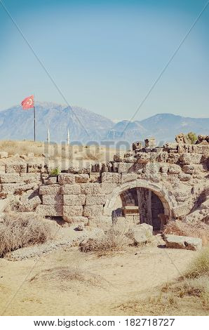 An image of the ancient roman ruins of the east necropolis situated in the Turkish town of Side.