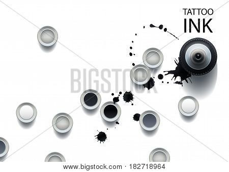 Realistic tattoo ink bottle and caps. All objects are isolated from each other. Top view design