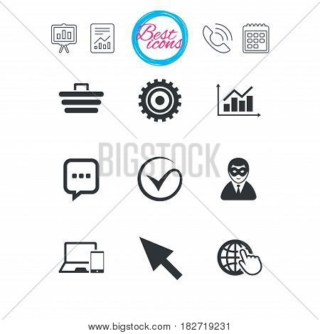Presentation, report and calendar signs. Internet, seo icons. Tick, online shopping and chart signs. Anonymous user, mobile devices and chat symbols. Classic simple flat web icons. Vector