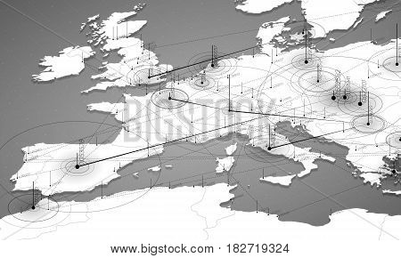 Europe grayscale map big data visualization. Futuristic map infographic. Information aesthetics. Visual data complexity. Complex europe data graphic visualization. Abstract data on map graph.