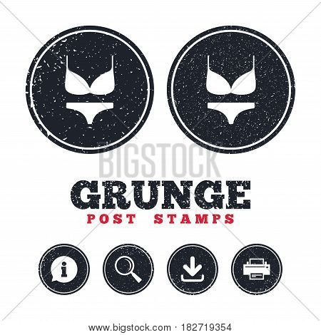 Grunge post stamps. Women bra and panties sign icon. Intimates underwear symbol. Information, download and printer signs. Aged texture web buttons. Vector