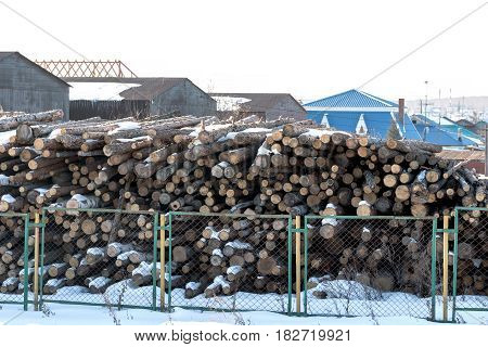 Wood logs ready for processing lie behind the fence