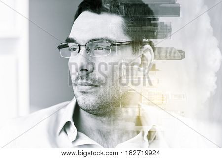 business, vision and people concept - portrait of businessman in eyeglasses at office over city buildings and double exposure effect