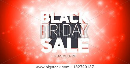 Vector Black Friday Sale background with shining blast of fireworks. Vector illustration on red background. Abstract explosion of shining dots.